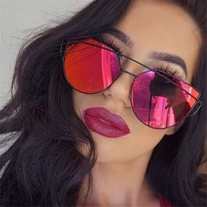 Accessories - Mirror sunglasses rave festival cat eye red gold